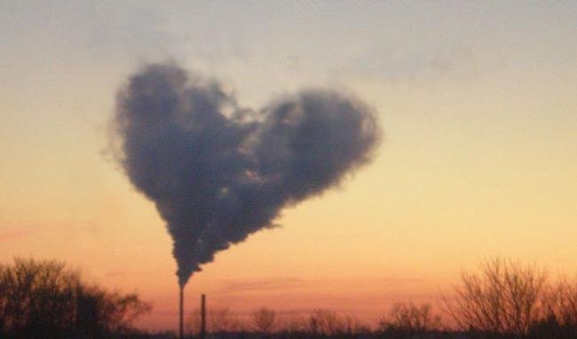 factory in love   heart shaped smoke