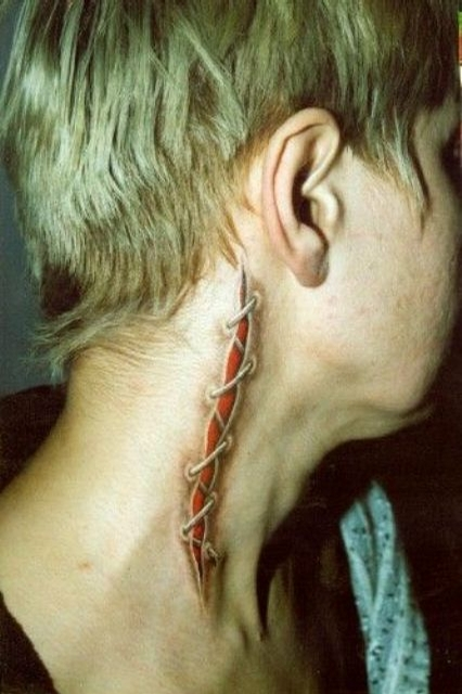 Bloody Tattoo - they have just cut my neck