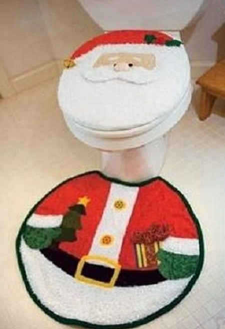 Christmas toilet set funny wc decoration for Decoration wc
