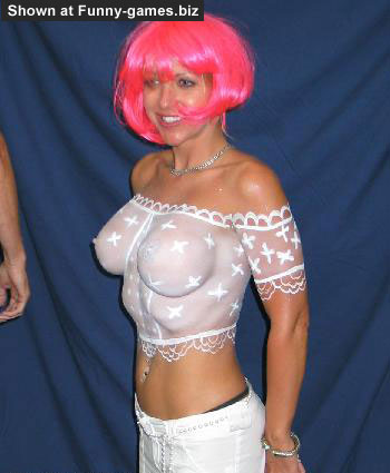 Sexy Bodypaint - Funny naked pictures hand fitting boobs in white blouse
