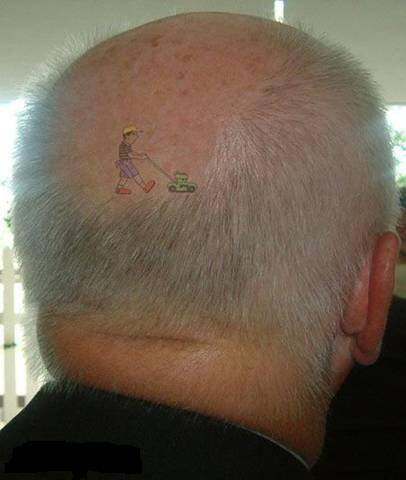 Head Tattoo - one way how to explain baldness