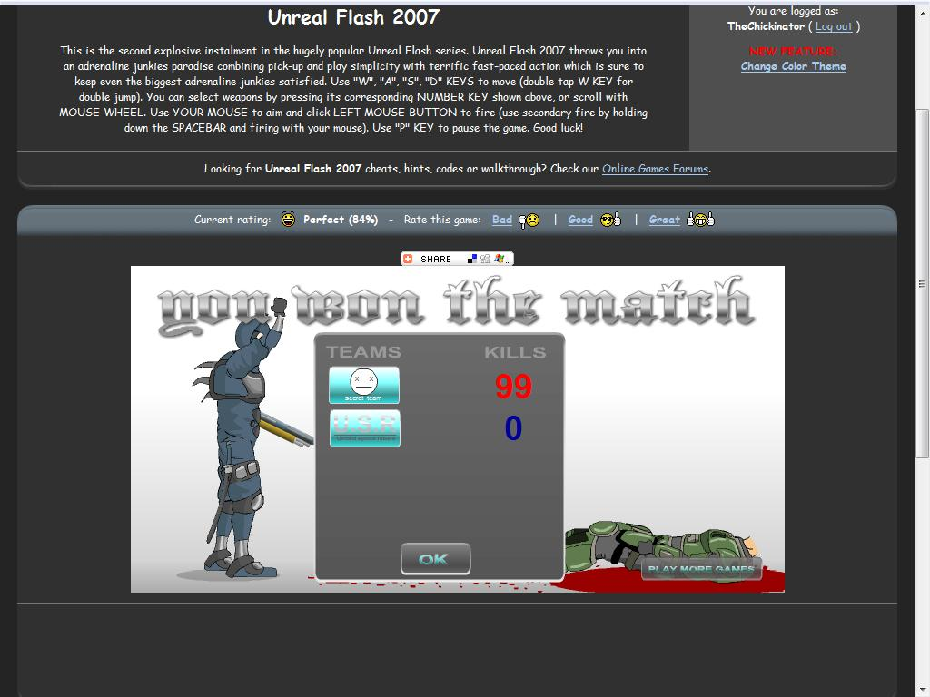 Unreal Flash 2007 Cheats
