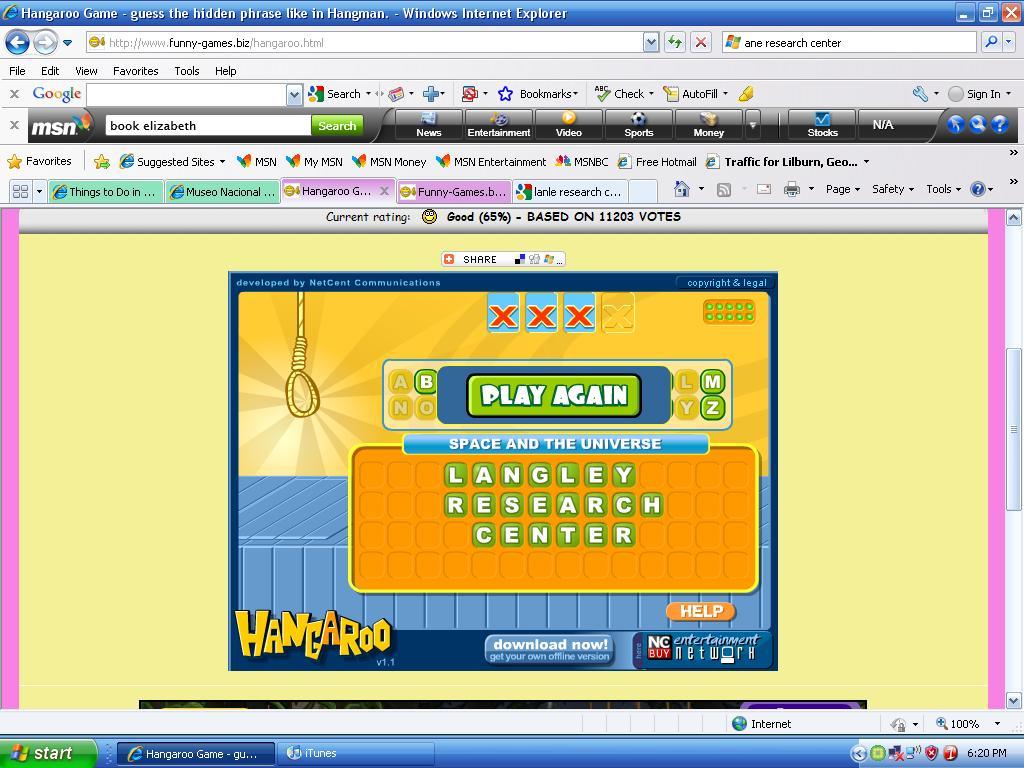 Hangaroo Game
