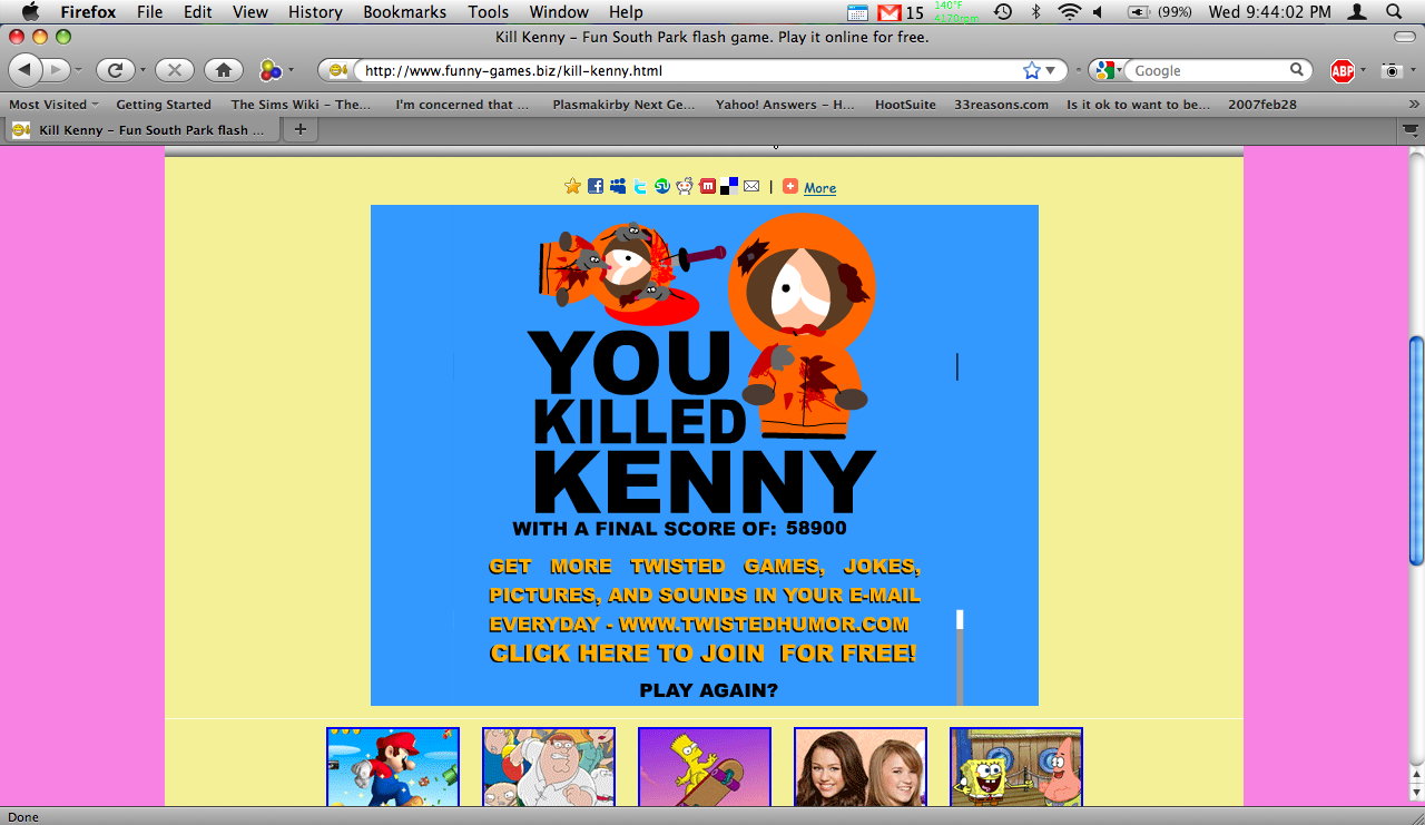 south park games online kill kenny