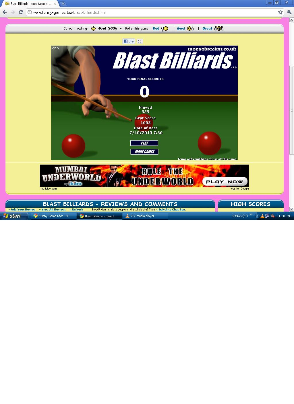 flash snooker scores