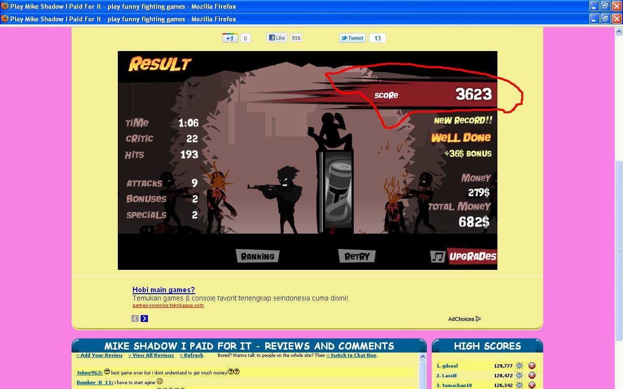 Mike shadow i paid for it high scores