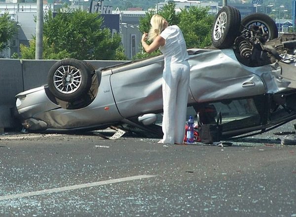 Blonde Car Accident picture