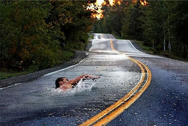 Swimming on Road picture
