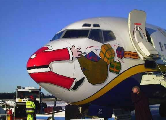Christmas Plane Painting - airplane overlooked santas sledge