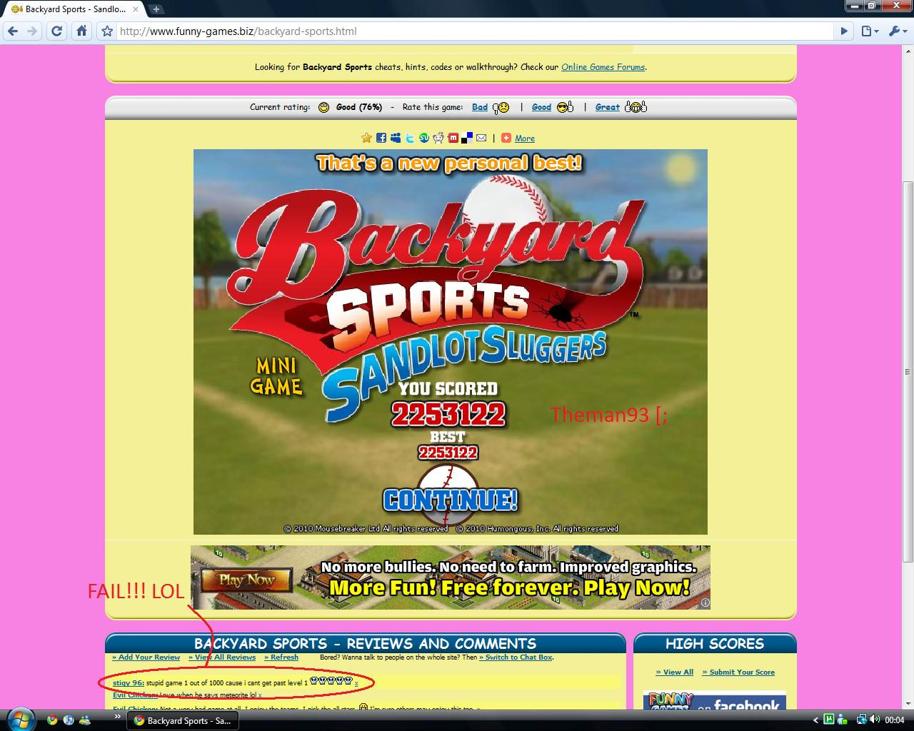 backyard sports sandlot sluggers baseball online game