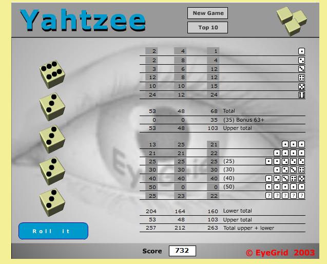 Kostenlos Yahtzee Spielen