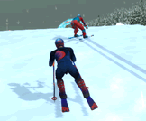 Ski down the slope and beat your opponents at the finish.