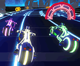 Test your racing skills against AI bots on high speed neon tracks.