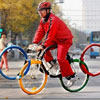Olympic ring shaped bicycle