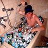 Fun pictures young guy having beer foam bath