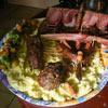 several sausages and mash potatoes = boat