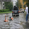 People having fun pics car surfing on flooded street
