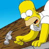 Homer and Bart are working on the roof