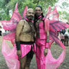 chumps put on pink butterfly masks