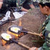 starving soldiers are cooking eggs