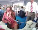 office worker destroys telephone