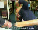 author signing books got beaten by angry guy