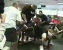 video of bar-bell breaking tough guy chest.